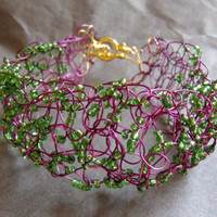 Crocheted Beaded Bracelet Purple and Green Organic