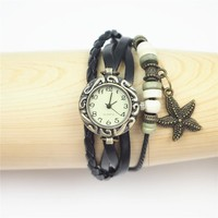 Magicpieces Vintage Style Leather Belt Watch with Starfish Pendant 06 DP 0412