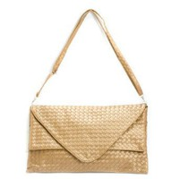 Gold Woven Clutch Evening Handbag