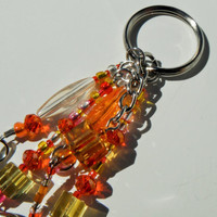 Orange Yellow Keychain, Multi Color Silver Keychain, Chunky Bead Keychain, Key Ring, Repurposed Jewelry, Handbag Charm, Mother's Day Gift