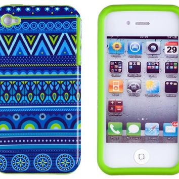 DandyCase 2in1 Hybrid High Impact Hard Blue Aztec Tribal Pattern + Lime Green Silicone Case Cover For Apple iPhone 4S & iPhone 4 + DandyCase Screen Cleaner