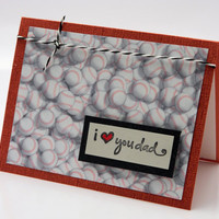 Ruby Red Baseball Love You Dad Greeting Card