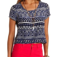 STRAPPY BACK TRIBAL PRINT CROP TOP