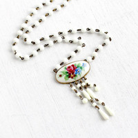 Antique Art Deco Floral Enamel Necklace- 1920s 1930s Brass White Milk Glass Beaded Flower Necklace