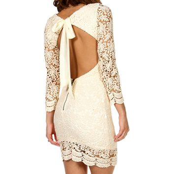 Alaina- Natural Crochet Open Back Dress