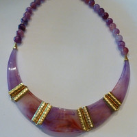 Vintage Pink and Purple Lucite Necklace Gold Metal Accents Costume Jewelry