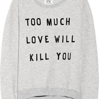 Zoe Karssen Too Much Love cotton-blend sweatshirt – 50% at THE OUTNET.COM