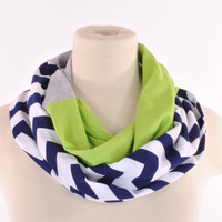 Chevron Infinity Scarf Green Navy Gray Seattle Seahawks Infinity lightweight women scarf Loop Circle jersey
