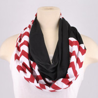 Chevron Infinity Scarf Zig Zag Stripe Falcons Buccaneers Black Red lightweight Infinity scarf Loop Circle jersey
