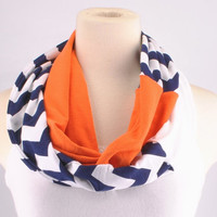Chevron Infinity Scarf Zig Zag Stripe Navy Orange Bears Auburn Tigers Broncos Infinity scarf Loop Circle jersey