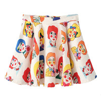 ROMWE Clown Print Zippered Pleated Cream Skirt