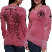 Affliction Blessed Juniors V-Neck Sweater - Dark Red Burnout
