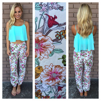 Mint Floral Harem Pants