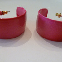 Vintage Hot Pink Earrings Painted Enamel Patterned Hoop Earring Costume Jewelrt