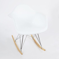 Modern Ash Wood Rocker in White