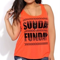 Plus Size Racerback Tunic Tank with Sunday Funday Screen