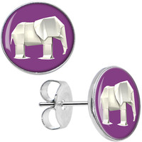 Purple White Origami Elephant Stud Earrings | Body Candy Body Jewelry