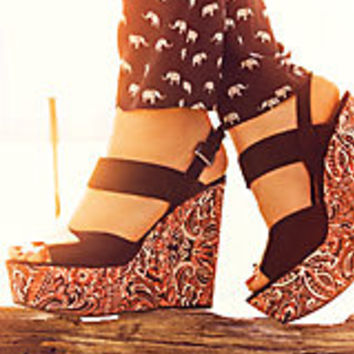 Black Strappy Contrast Tribal Print Wedges