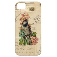 Vintage Bird Flowers French Postcards Galaxy Case