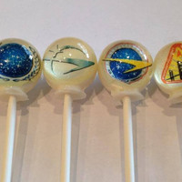 Star Trek inspired edible image lollipops by Vintage Confections