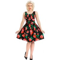 Spring Flowers Belted Dress by Voodoo Vixen (Black)