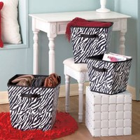 3 Piece Zebra Print Bin Set - For Teen Bedroom, Bathroom or Organization