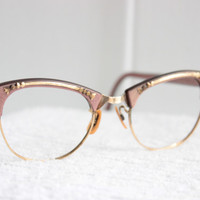 60s Cat Eye Glasses 1960's Pink Pearl Eyeglasses Browline Wire Rim Combination Gold Metal Applique 44/20 Art Craft Optical Frame