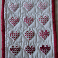 Hand made mini quilt pinks heart cross stitch by purrfectstitchers