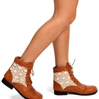 SALE-Camel Crochet Side Booties