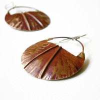 copper silver earrings, forged rustic circle, mixed metal, artisan metalsmith jewelry, gift under 35