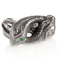 Pamela Love Silver Victorian Snake Ring w/ Diamond and Emeralds