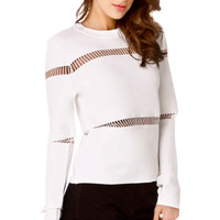 Thread Stripe Long Sleeve Knit Top