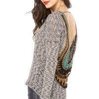 Woven Crochet Detailed Back L/S Top in Black Ivory