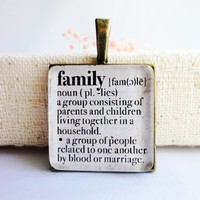 Family Dictionary Word Definition Meaning Glass Necklace or Keychain | LittleApples - Jewelry on ArtFire