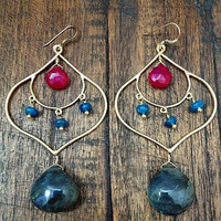 Labradorite Earrings/// Apatite/// Fuchsia Chalcedony/// 24K Gold Vermeil/// Exotic/// Zen/// Bohemian/// Goddess