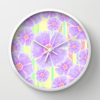 Spring Floral and Stripes Watercolor Wall Clock by Lisa Argyropoulos | Society6