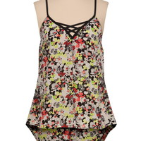 lattice front high-low floral chiffon tank