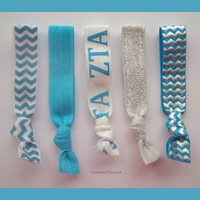 ZETA TAU ALPHA Sorority Elastic Hair Ties - Turquoise, Aqua Silver Chevron, No Bump, Yoga Hair Ties, Hair Bands, zta Great Gift