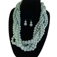 Mint Green Chunky Bead Necklace + Earring Set
