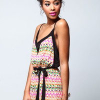 OUTLINED TRIBAL CAMI ROMPER