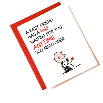 Best Friend Hug Greeting Card - Charlie Brown & Snoopy from Coliseum Graphics