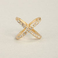 Hot Cross Fun Gold Rhinestone Ring