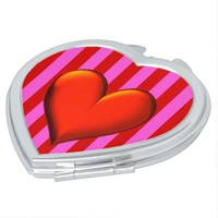 Bold Hot Pink, Red Stripes, Red Metallic Heart