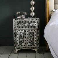 Black Bone Inlay Bedside Table
