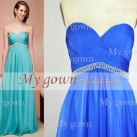 2014 prom dress,Strapless Draped Floor Length Blue Chiffon Prom Gown ,Dresses, Bridesmaid Dresses, Wedding Dress
