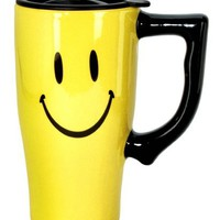 Spoontiques Smiley Face Travel Mug, Yellow