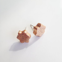 Star Stud Earrings {Gold Glitter, Polymer Clay}