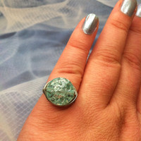Blue Cracked glass wire wrapped ring, wrapped cracked glass ring, aqua ring, wire wrapped ring, wrapped bead ring, bead ring