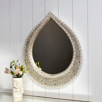 Large Tear Drop Mother of Pearl Mirror - New Summer Finds - Mirrors