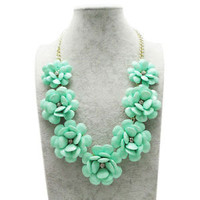Green Flower Gold Chain TurquoiseNecklace Rhinestone Acrylic Beads Bib Statement